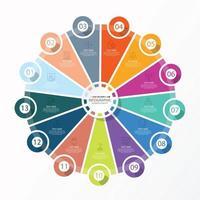 template infográfico de círculo básico com 13 etapas, processo ou opções, gráfico de processo, usado para diagrama de processo, apresentações, layout de fluxo de trabalho, fluxograma, infografia. ilustração em vetor eps10.