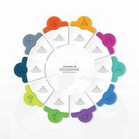 template infográfico de círculo básico com 10 etapas, processo ou opções, gráfico de processo, usado para diagrama de processo, apresentações, layout de fluxo de trabalho, fluxograma, infografia. ilustração em vetor eps10.