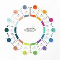 template infográfico de círculo básico com 14 etapas, processo ou opções, gráfico de processo, usado para diagrama de processo, apresentações, layout de fluxo de trabalho, fluxograma, infografia. ilustração em vetor eps10.