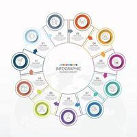 template infográfico de círculo básico com 11 etapas, processo ou opções, gráfico de processo, usado para diagrama de processo, apresentações, layout de fluxo de trabalho, fluxograma, infografia. ilustração em vetor eps10.