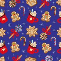 padrão de vetor sem costura de sobremesas tradicionais variadas para a celebração do Natal em fundo azul