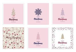 conjunto de ilustração de cartões de natal vetor
