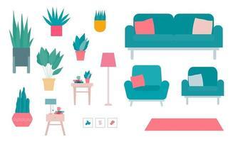 conjunto de elementos interiores e ilustrações de plantas planas vetor