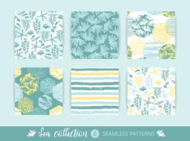 Conjunto de padrões sem emenda do mar na moda com textura de mão e elementos geométricos vetor