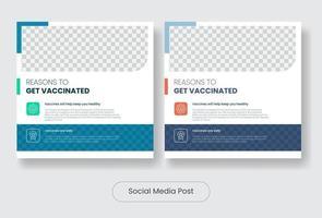 vacina coronavírus covid19 conjunto de modelo de pós-banner de mídia social vetor