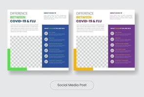 diferença conjunto de modelos de banner de postagem de covid e gripe nas redes sociais vetor