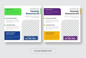 conjunto de modelo de banner de postagem de vacinas educacionais covid19 vetor