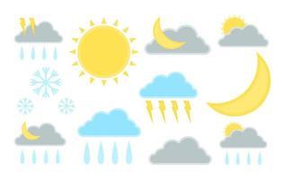 conjunto de ilustração da previsão do tempo. sinal de ícone do clima. gráfico vetorial vetor