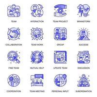 conjunto de ícones de linha plana da web em equipe vetor