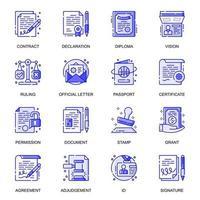 conjunto de ícones de linha plana da web de documentos jurídicos vetor