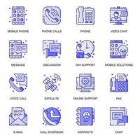 conjunto de ícones de linha plana de comunicação web vetor