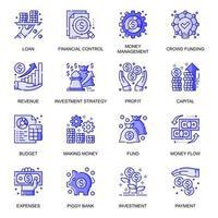 conjunto de ícones de linha plana da web de finanças vetor