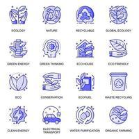 conjunto de ícones de linha plana de ecologia da web vetor