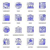 conjunto de ícones de linha plana de web de negócios vetor