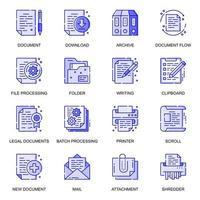 conjunto de ícones de linha plana da web de documento vetor