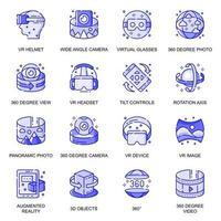 conjunto de ícones de linha plana de realidade virtual vetor