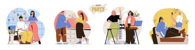 suas cenas de conceito de festa definidas vetor
