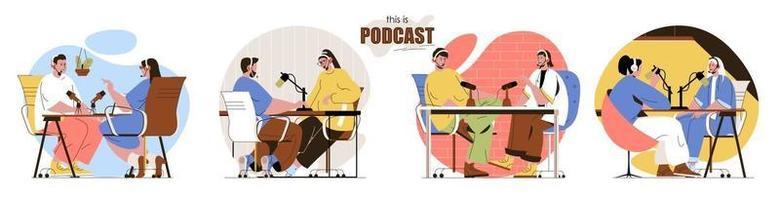 este é o conjunto de cenas de conceito de podcast vetor