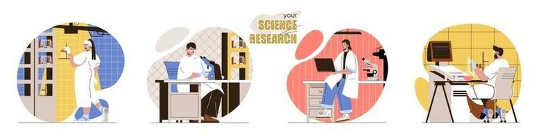 suas cenas de conceito de pesquisa científica definidas vetor