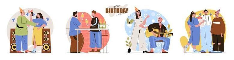 seu conjunto de cenas de conceito de aniversário vetor