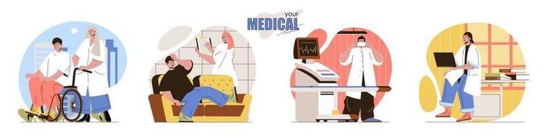 suas cenas de conceito médico definidas vetor