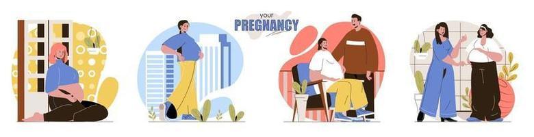 suas cenas de conceito de gravidez definidas vetor
