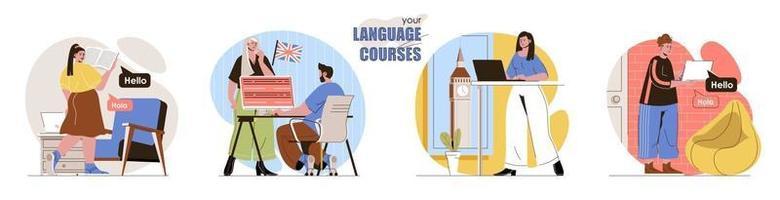 as cenas do conceito do seu curso de idioma definidas vetor