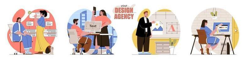 suas cenas de conceito de agência de design definidas vetor