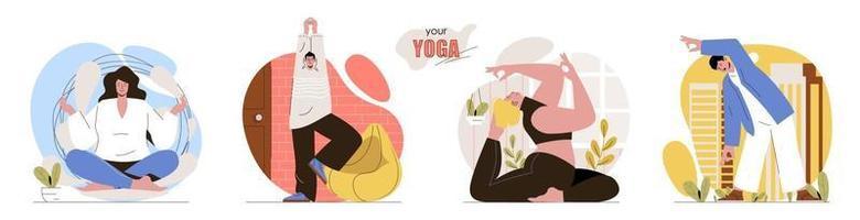 seu conjunto de cenas de conceito de ioga vetor