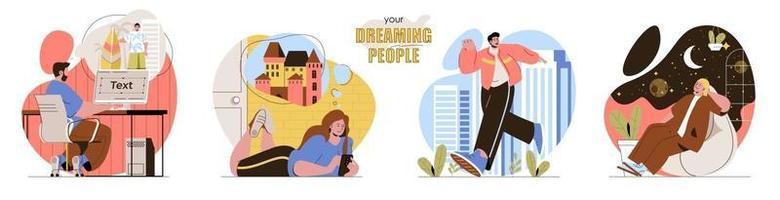 seu conjunto de cenas de conceito de pessoas sonhadoras vetor