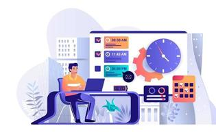 conceito de gerenciamento de tempo em design plano vetor