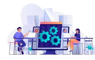 conceito de equipe de desenvolvedores em design plano vetor