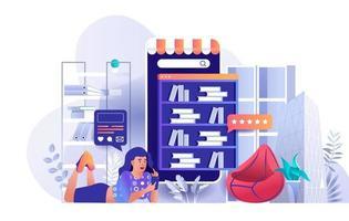 conceito de biblioteca online em design plano vetor