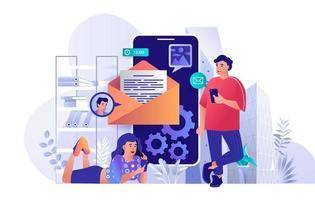 conceito de serviço de e-mail móvel em design plano vetor
