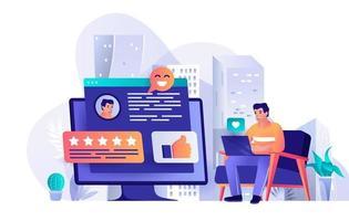 melhor conceito de feedback em design plano vetor