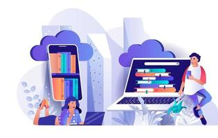 conceito de biblioteca em nuvem em design plano vetor