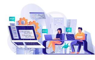 conceito de software de programação em design plano vetor