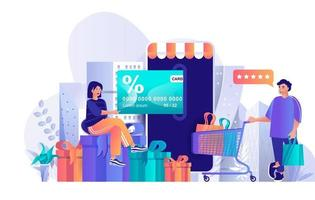 conceito de programa de fidelidade de loja em design plano vetor