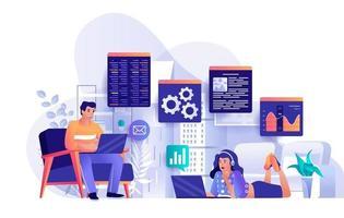 conceito de trabalho freelance em design plano vetor