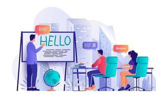 conceito de cursos de línguas em design plano vetor