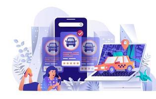 conceito de reserva de táxi em design plano vetor