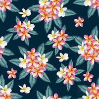 verão tropical sem costura padrão com fundo abstrato de flores de frangipani. ilustração vetorial mão desenho estilo aquarela. para design de tecido. vetor
