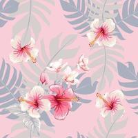sem costura padrão floral hibisco rosa e flores da orquídea em fundo de cor pastel isolado. ilustração vetorial desenho à mão em aquarela. vetor