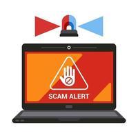 aviso no alerta de fraude da tela do laptop. ilustração vetorial plana. vetor