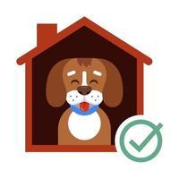 leve um cachorro do abrigo para sua casa. cachorro feliz na cabine. ilustração vetorial plana. vetor
