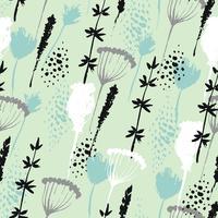 Vector padrão floral desenhado na mão estilo com flores e grama