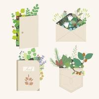 lindas plantas para decoração de portas, envelopes, livros e austrália. ilustrações de desenho vetorial. vetor
