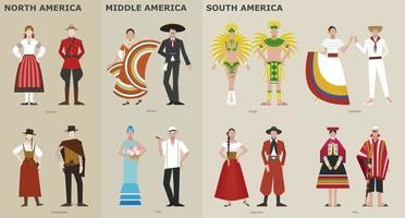 uma coleção de trajes tradicionais por país. América. ilustrações de desenho vetorial. vetor