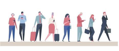 muitas pessoas usando telefones celulares. ilustrações de desenho vetorial. vetor