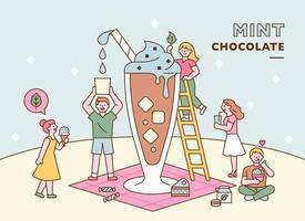 as pessoas estão fazendo uma bebida gigante de chocolate com menta juntas. ilustração em vetor mínimo estilo design plano.